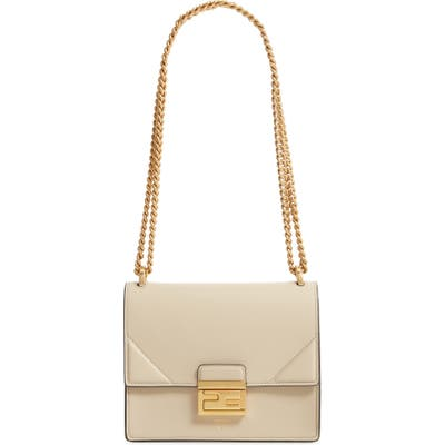 Fendi Small Kan U Leather Shoulder Bag - Ivory