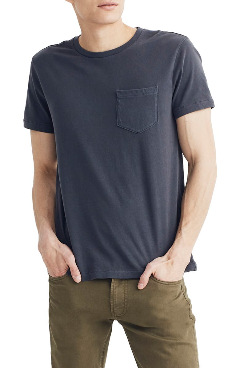 MADEWELL Allday Slim Fit Garment Dyed Pocket T-Shirt, Main, color, 001