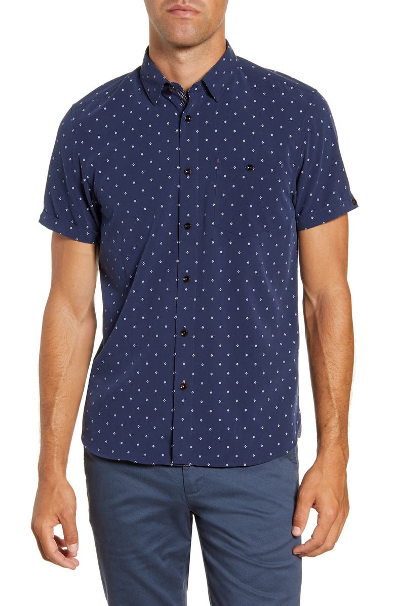 TED BAKER LONDON Diamond Slim Fit Short Sleeve Button-Up Shirt, Main, color, NAVY