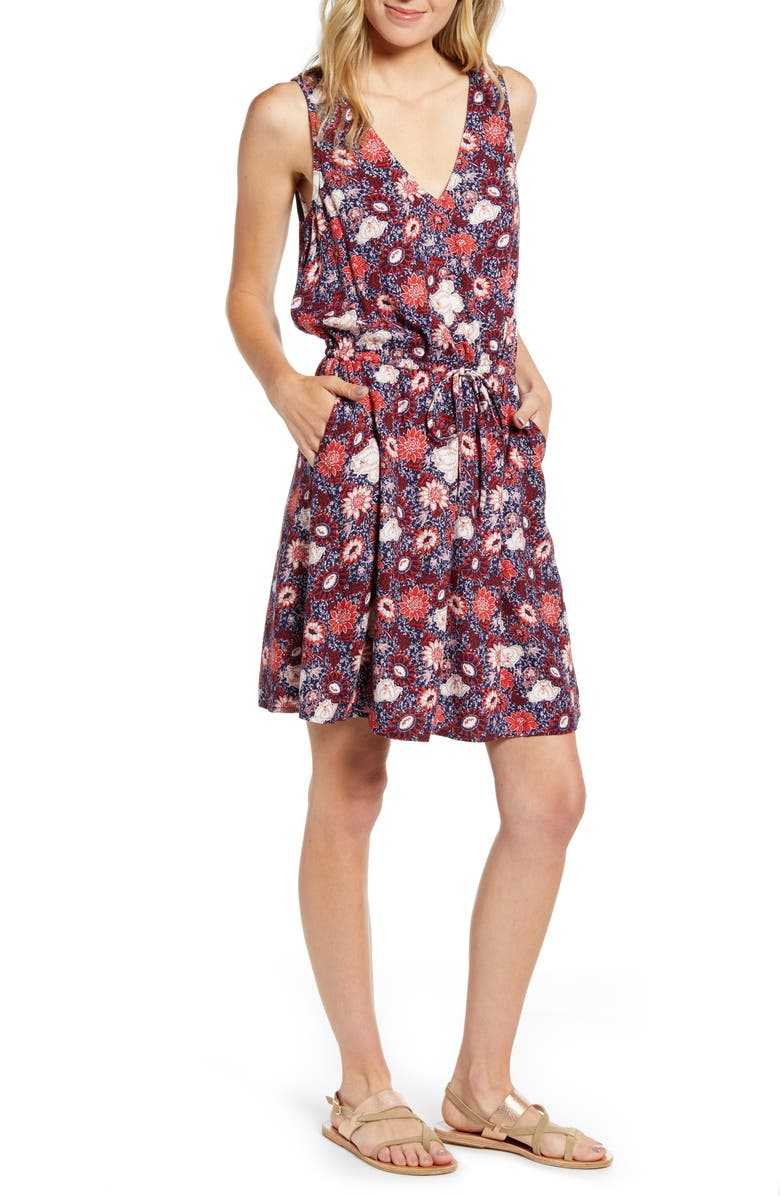 HINGE Sleeveless Popover Dress, Main, color, NAVY DUSK DENA FLORAL