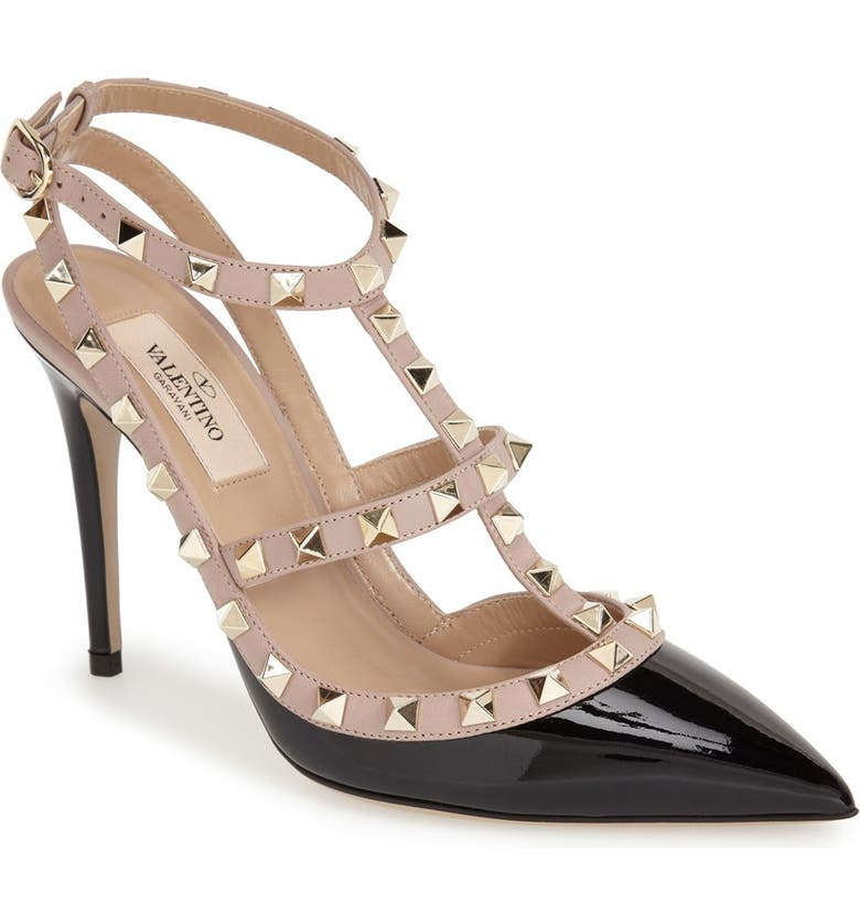 VALENTINO GARAVANI Rockstud Pointed Toe T-Strap Pump, Main, color, BLACK/ BLUSH PATENT