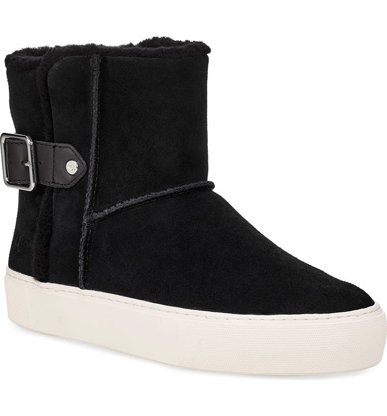UGG<SUP>®</SUP> Aika Water Resistant Platform Sneaker Boot, Main, color, BLACK SUEDE