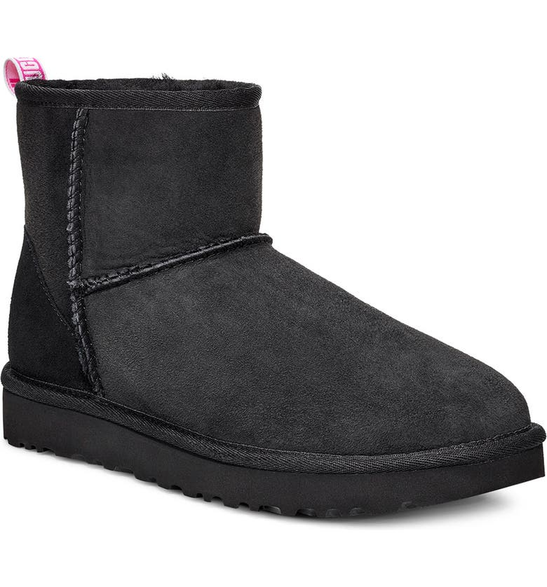 UGG<SUP>®</SUP> Classic Mini II Logo Bootie, Main, color, BLACK / NEON PINK SUEDE