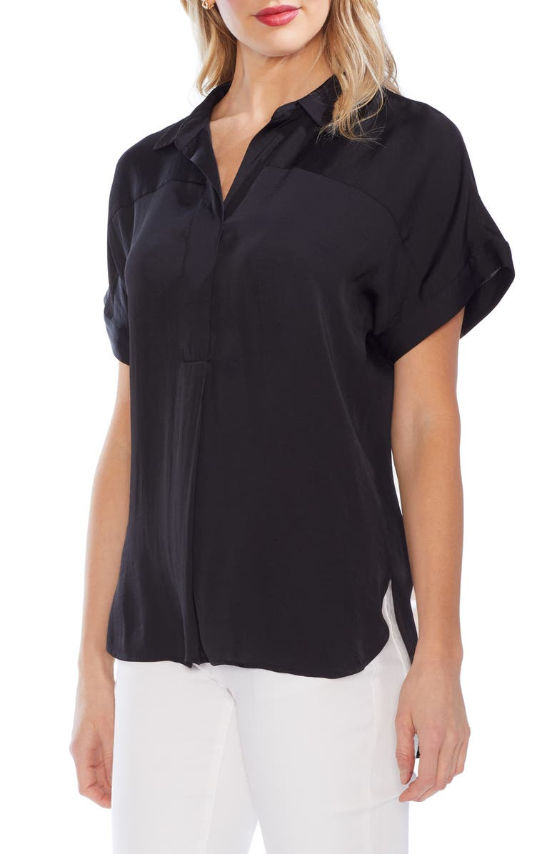 VINCE CAMUTO Collared Rumple Henley Blouse, Main, color, 006
