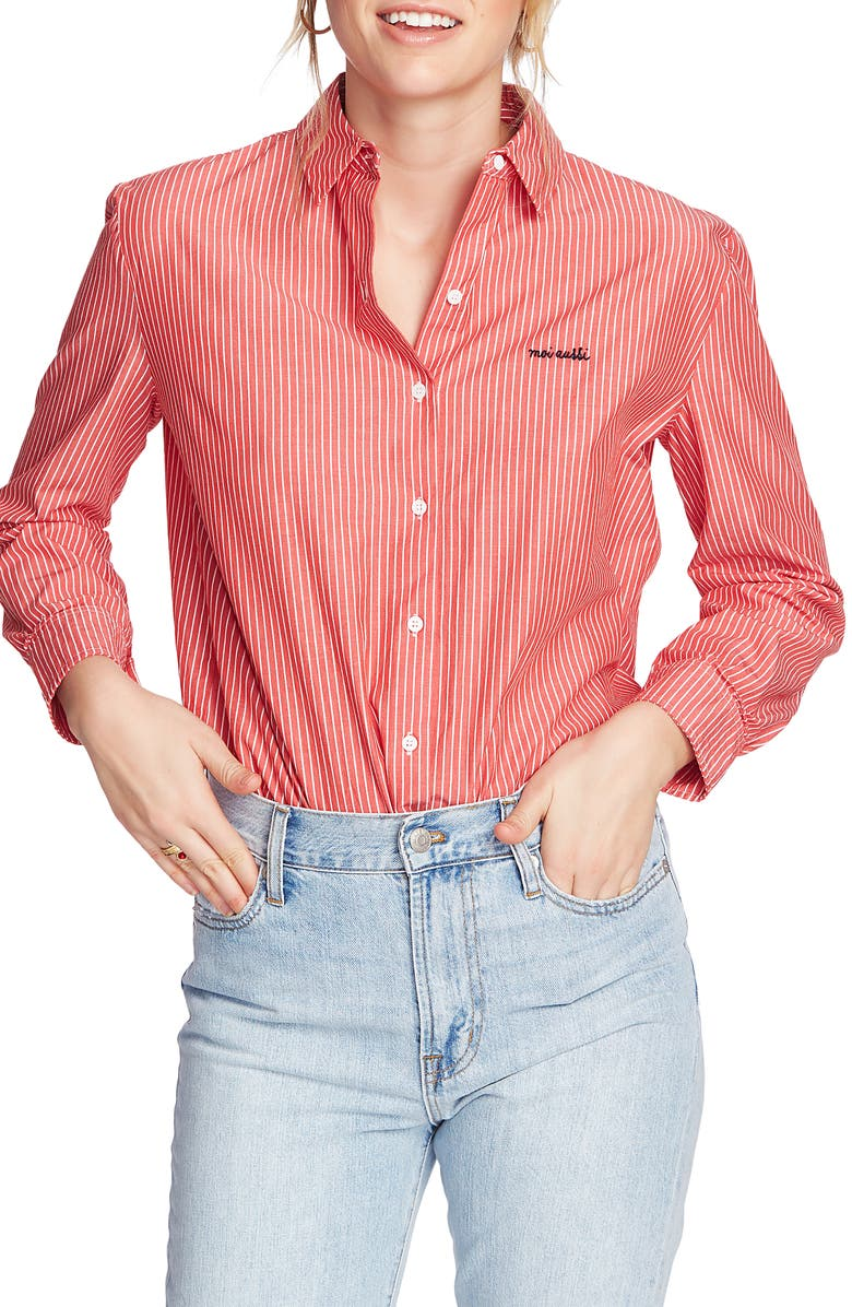 COURT & ROWE Preppy Embroidered Stripe Shirt, Main, color, PREPPY RED