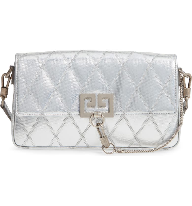 GIVENCHY Small Charm Metallic Quilted Shoulder Bag, Main, color, SILVER