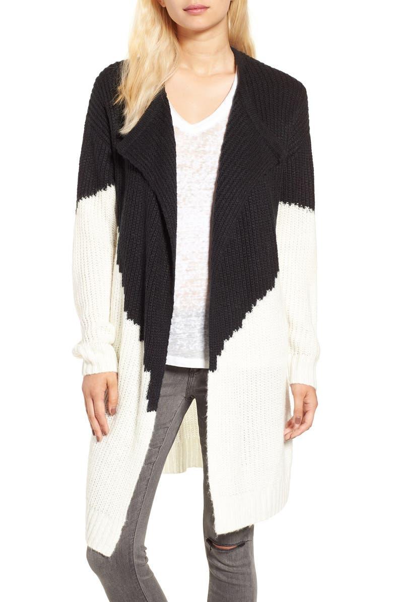 SUN & SHADOW Colorblock Knit Cardigan, Main, color, 001