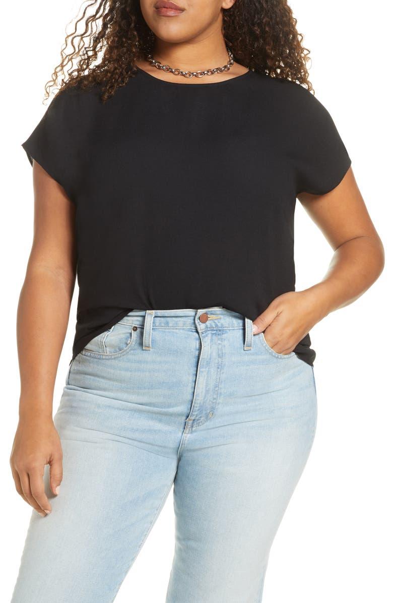 HALOGEN<SUP>®</SUP> Cap Sleeve Blouse, Main, color, BLACK