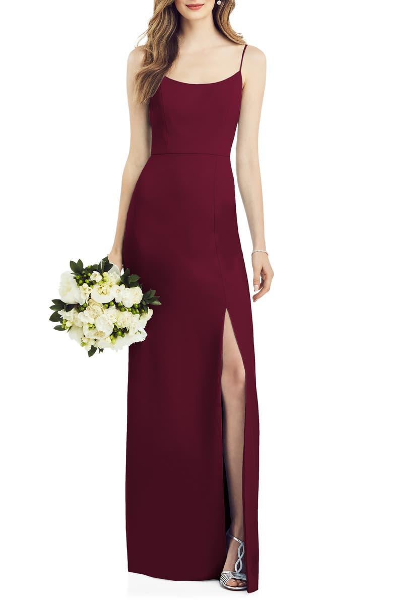 AFTER SIX Scoop Neck Crepe Gown, Main, color, CABERNET