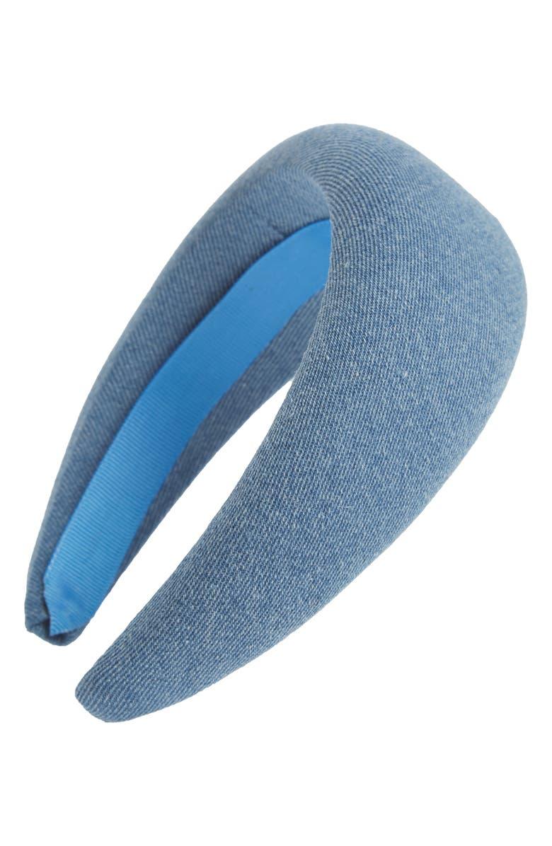 GANNI Washed Denim Headband, Main, color, 400