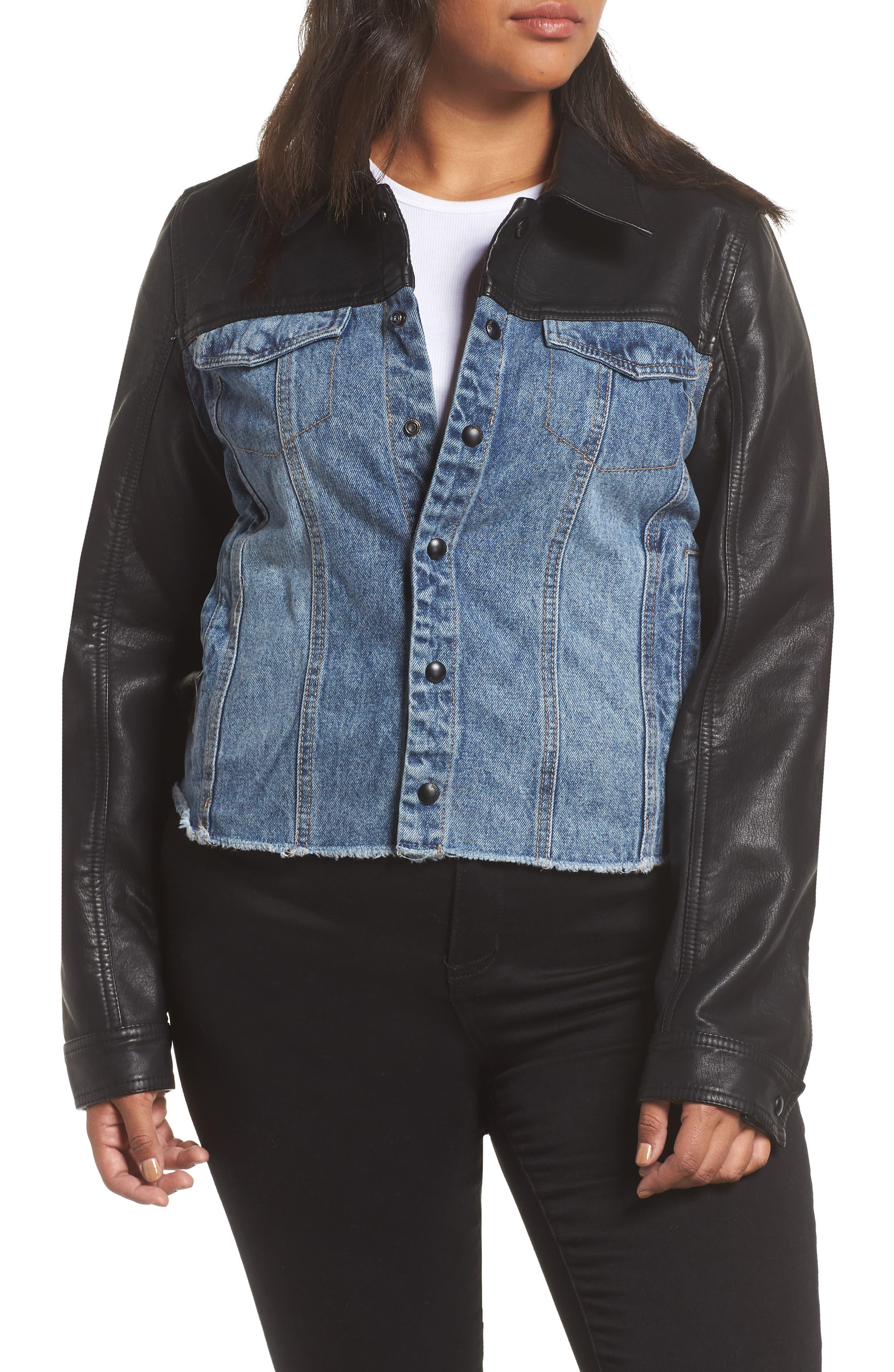 ,                             Faux Leather & Denim Jacket,                             Alternate thumbnail 4, color,                             001