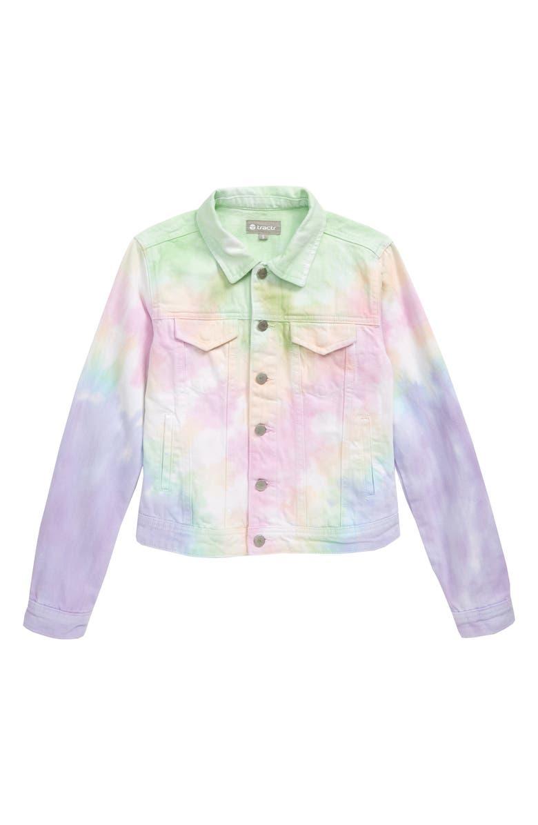 TRACTR Tie Dye Denim Jacket, Main, color, PINK MULTI
