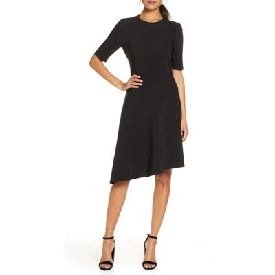 Gal Meets Glam Collection Luna Asymmetrical Hem Fit & Flare Dress, Black