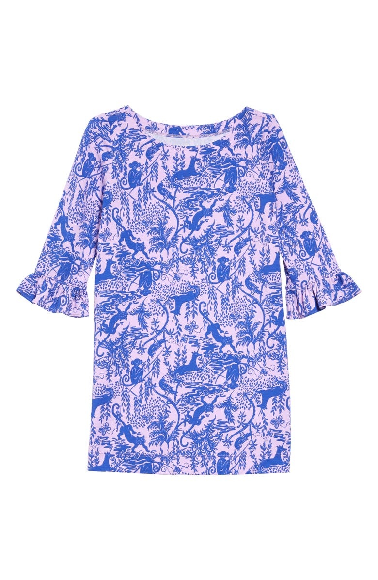 LILLY PULITZER<SUP>®</SUP> Mini Sophie UPF 50+ Ruffle Dress, Main, color, LILAC FREESTA SAFARI I CAN SEE