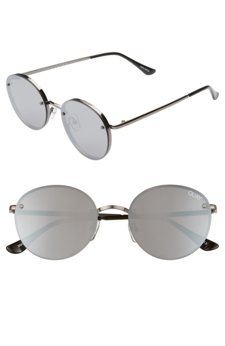 QUAY AUSTRALIA x Elle Ferguson Farrah 53mm Round Sunglasses, Main, color, GUNMETAL/ SILVER