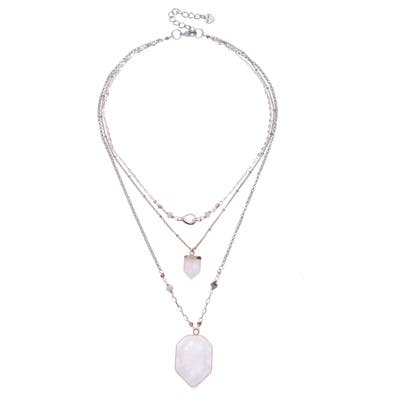 Nakamol Design Quartz Pendant Layered Necklace