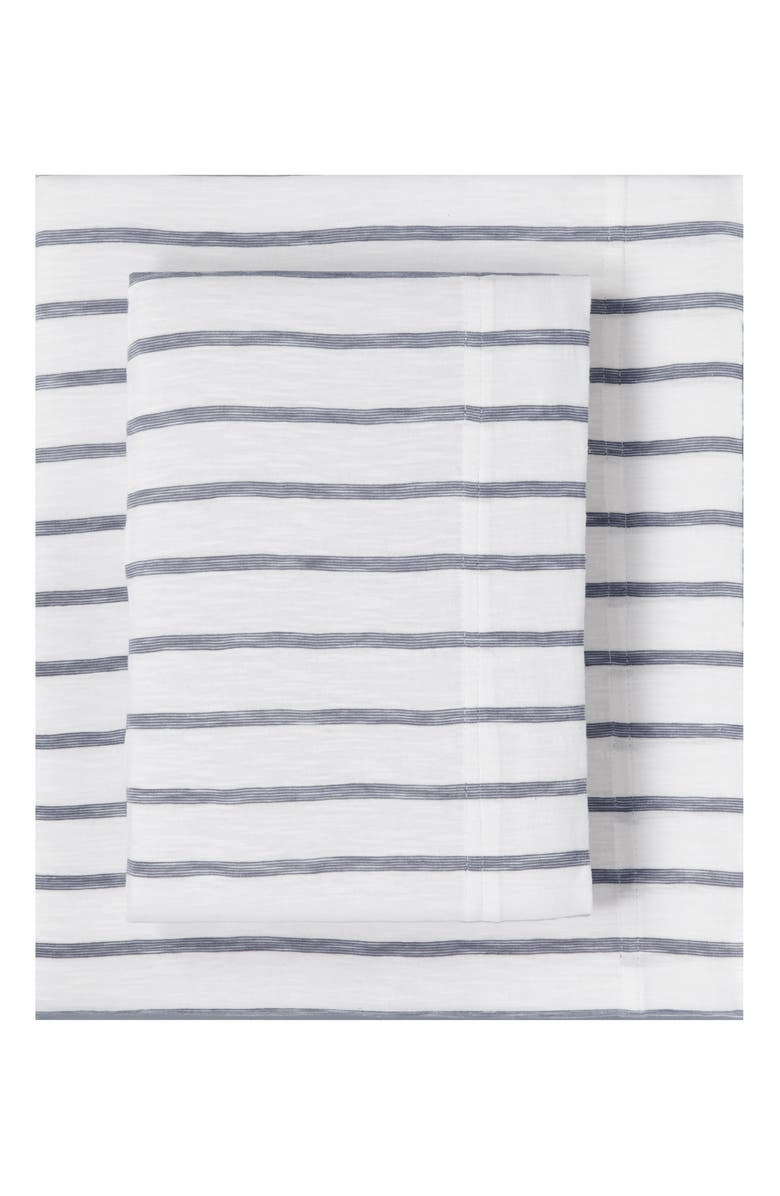 SPLENDID HOME DECOR Stripe Slub Jersey Sheet Set, Main, color, WHITE/ ASH