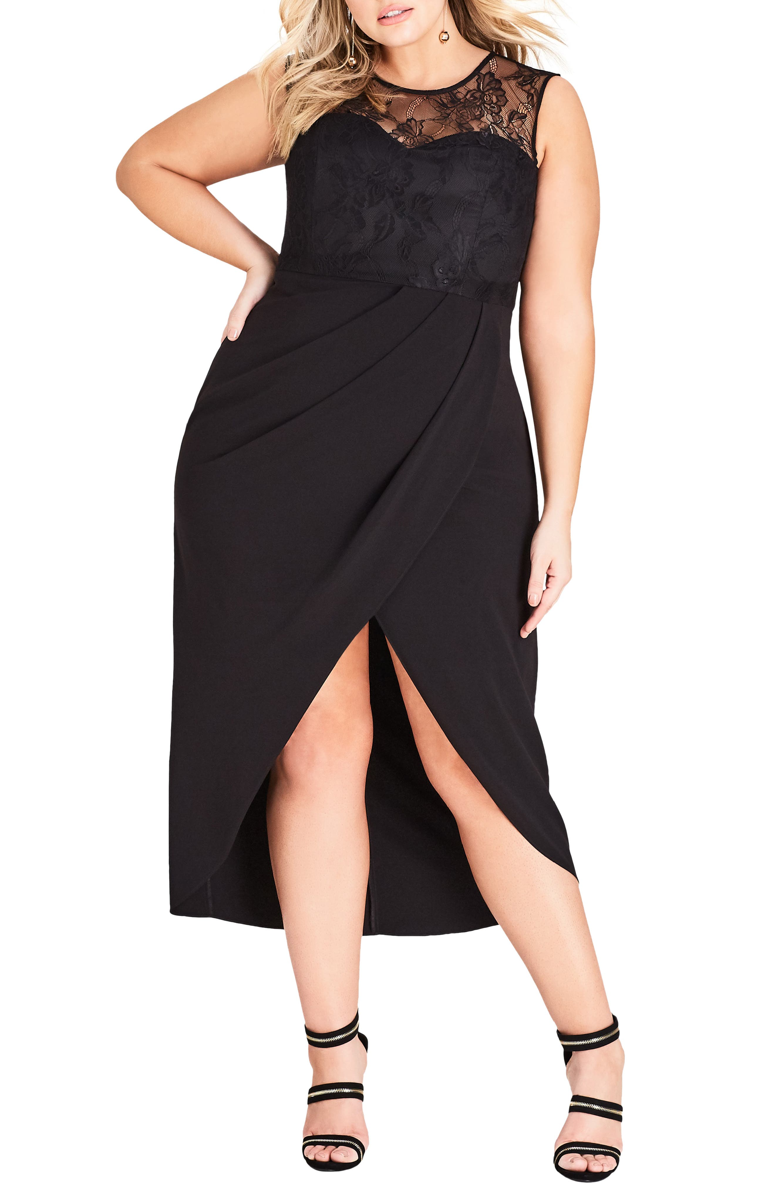 Plus Size City Chic Lace Overlay Sleeveless Gown, Black