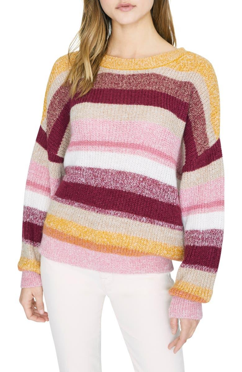 SANCTUARY Blur the Lines Stripe Crewneck Sweater, Main, color, GARNET STRIPE