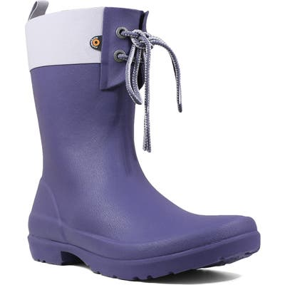 Bogs Flora Lace Top Waterproof Rain Boot, Blue
