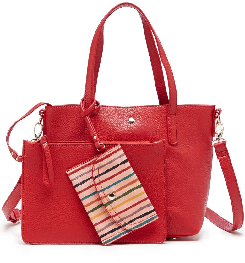SOLE SOCIETY Mini Zeda Faux Leather Tote, Main, color, POPPY RED