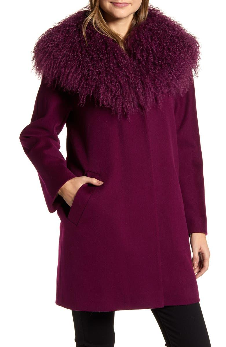 FLEURETTE Wool Coccon Coat with Genuine Lamb Fur Trim, Main, color, 509