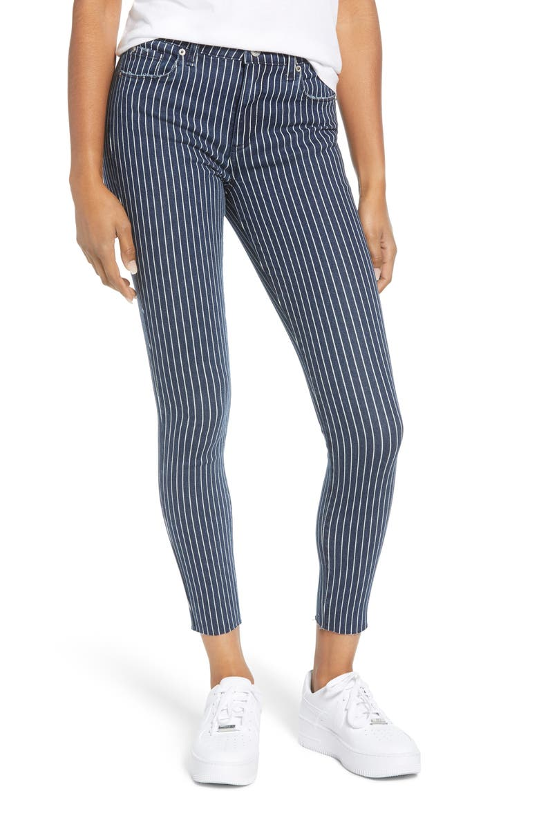 STS BLUE Ellie Stripe High Waist Ankle Skinny Jeans, Main, color, LARAMORE
