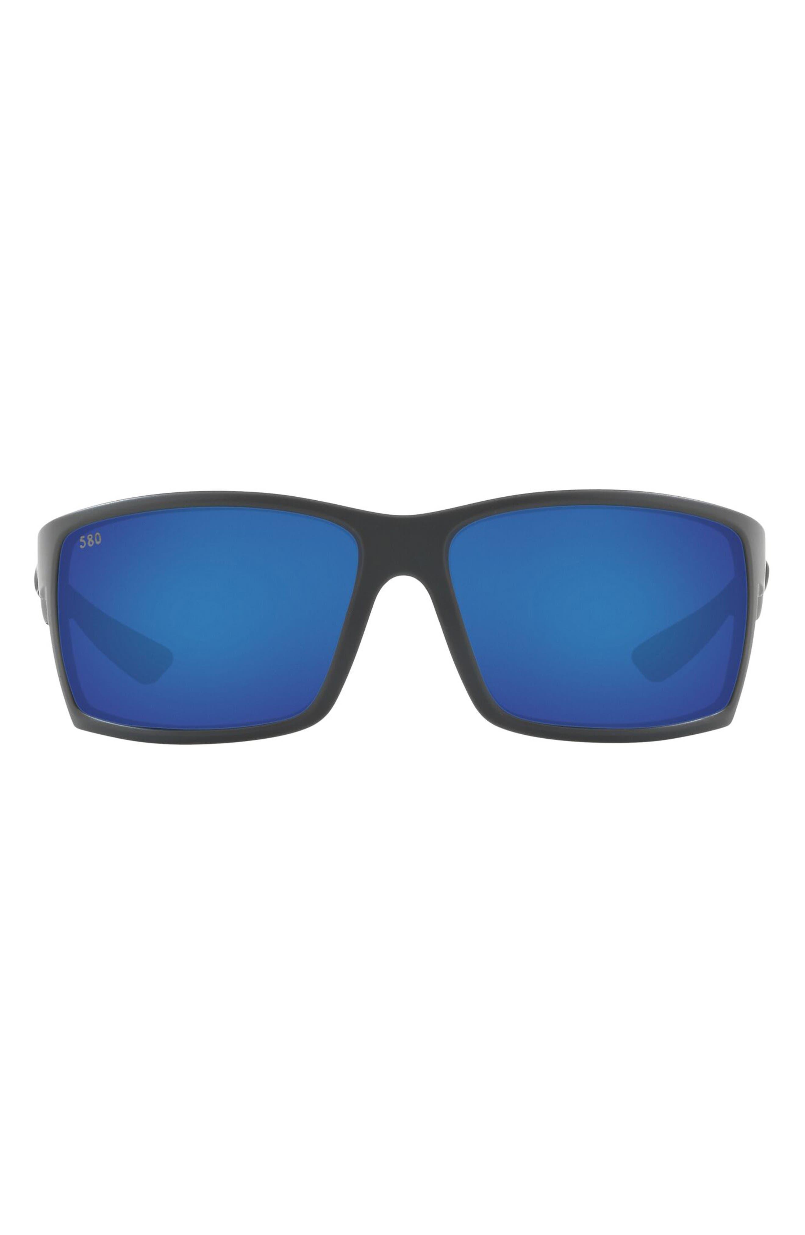 64mm Mirrored Polarized Oversize Rectangle Sunglasses