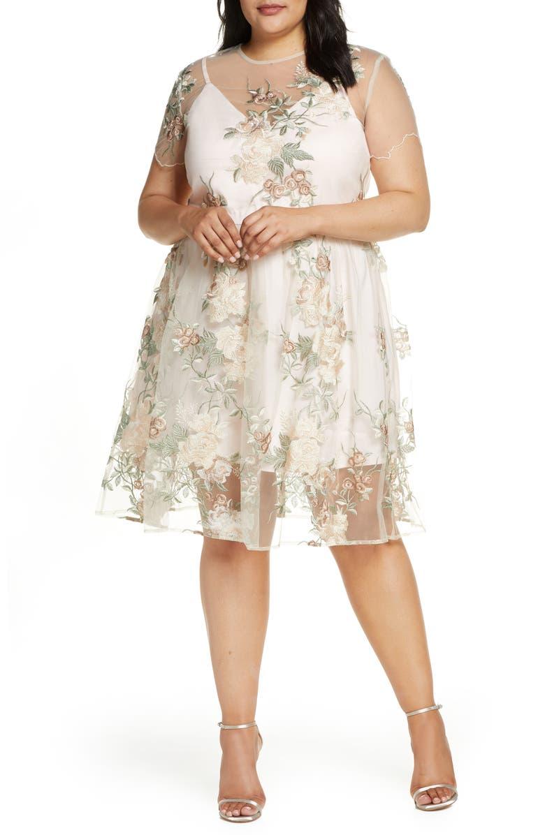 CHI CHI LONDON Curve Bryanna Fit & Flare Dress, Main, color, 250