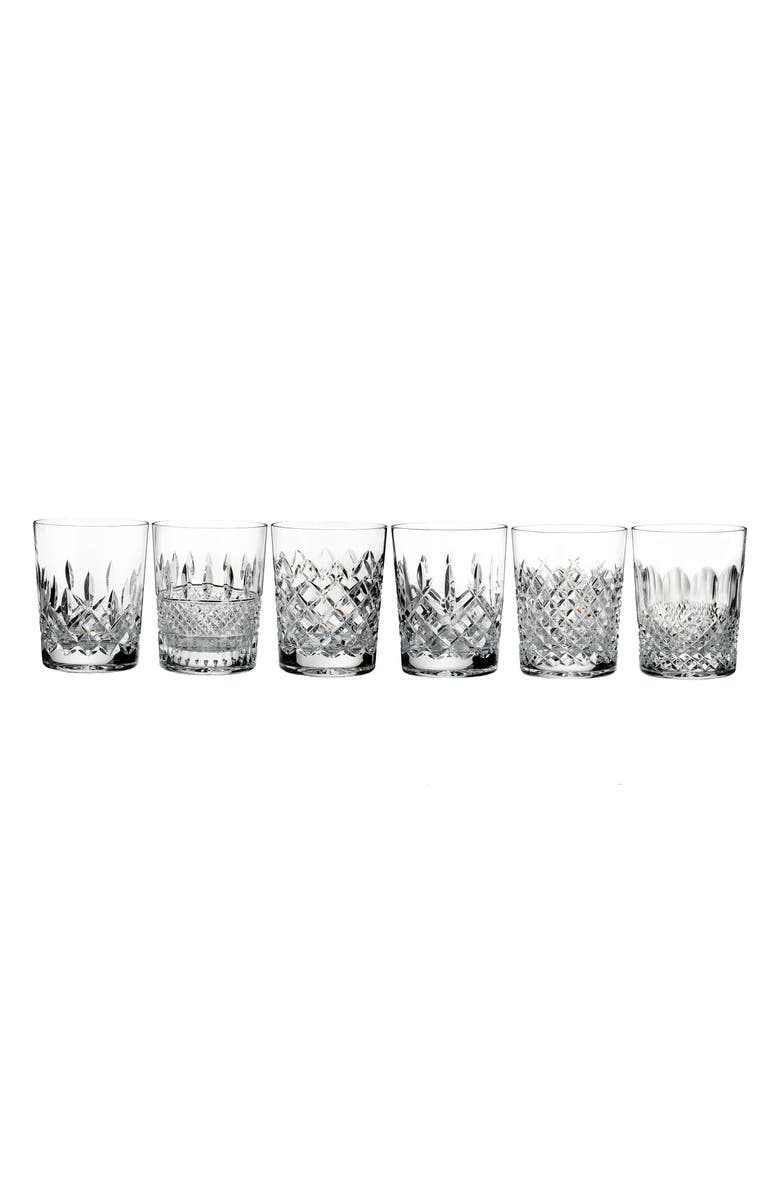 WATERFORD Connoisseur Set of 6 Lead Crystal Double Old Fashioned Glasses, Main, color, CRYSTAL