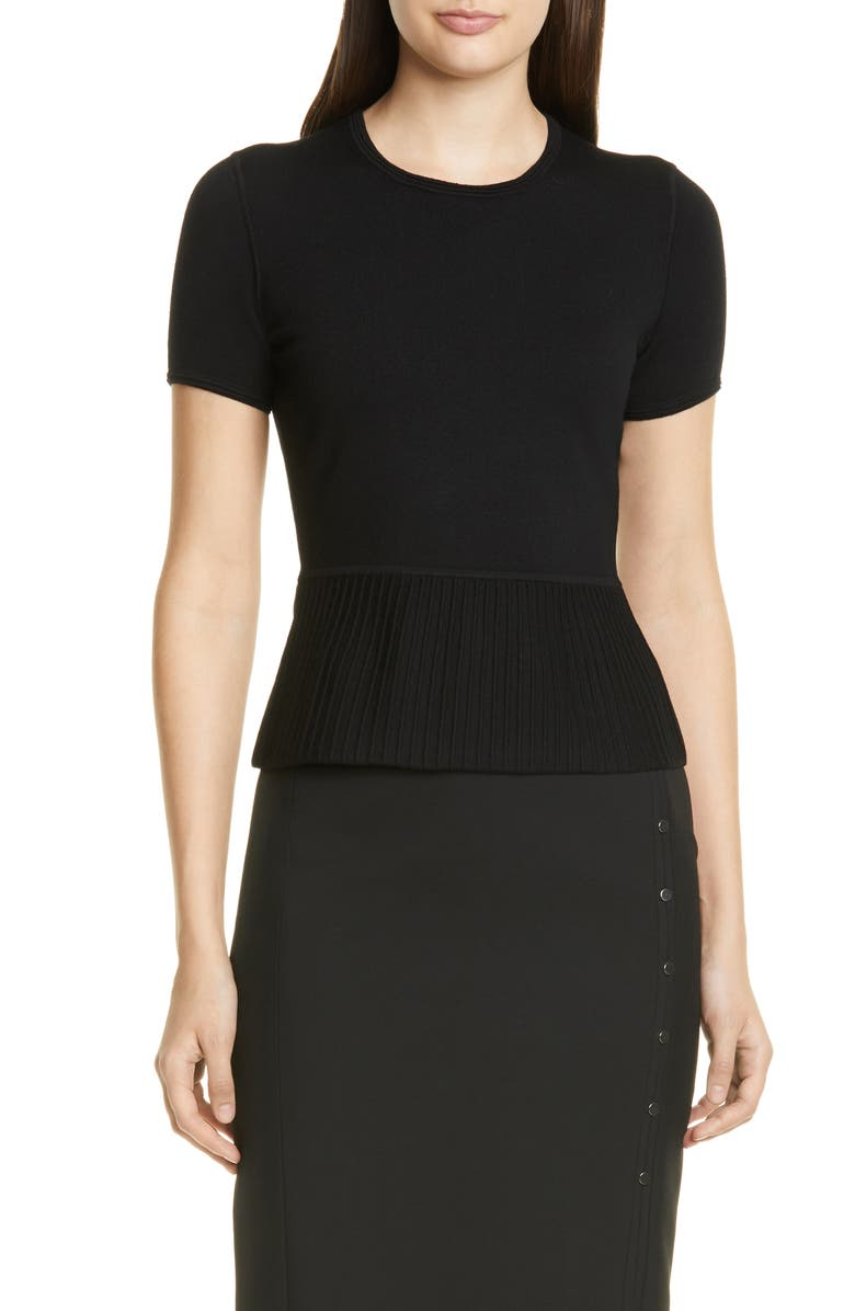 BOSS Faly Short Sleeve Ribbed Peplum Wool Blend Sweater, Main, color, BLACK