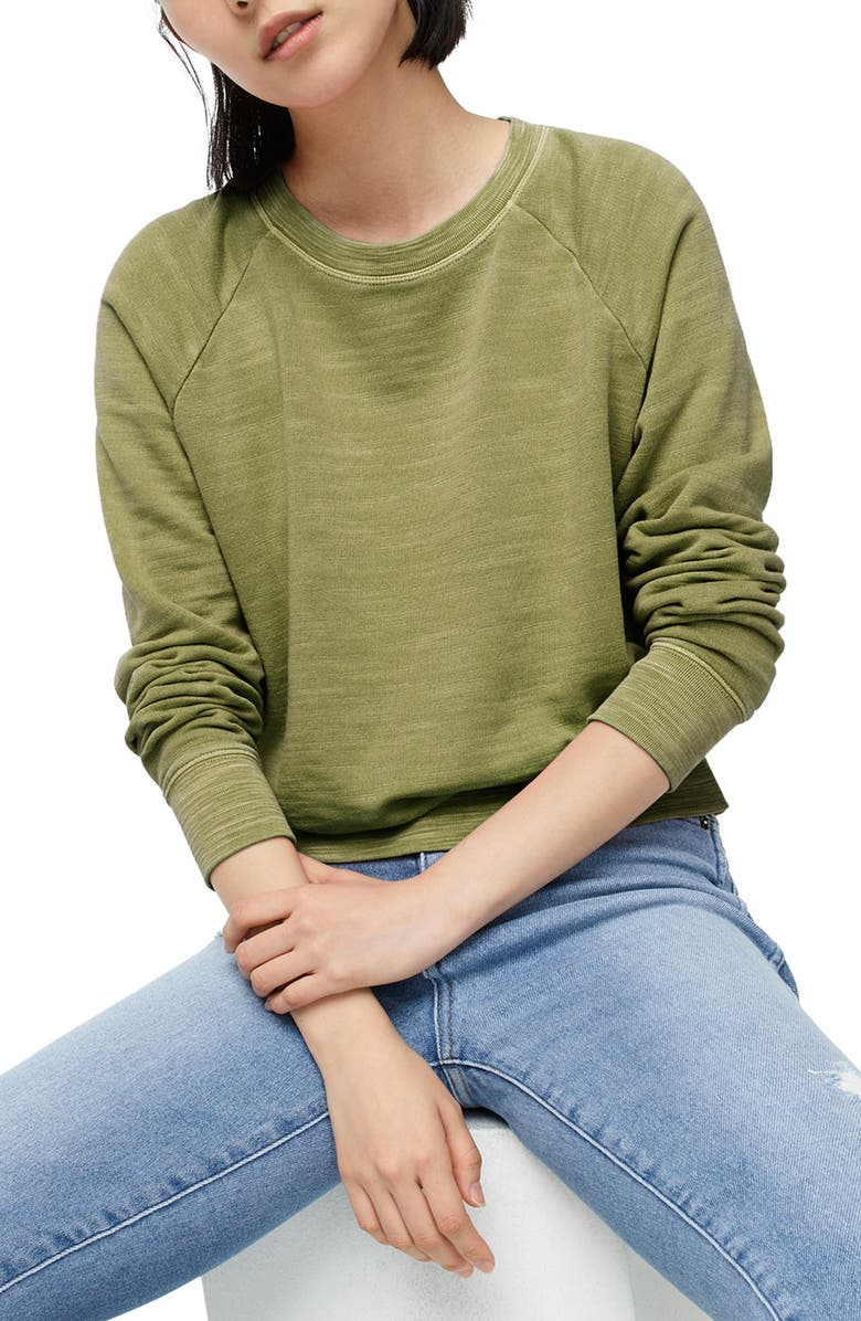 J.CREW Vintage Terry Cotton Crewneck Pullover, Main, color, FROSTY OLIVE