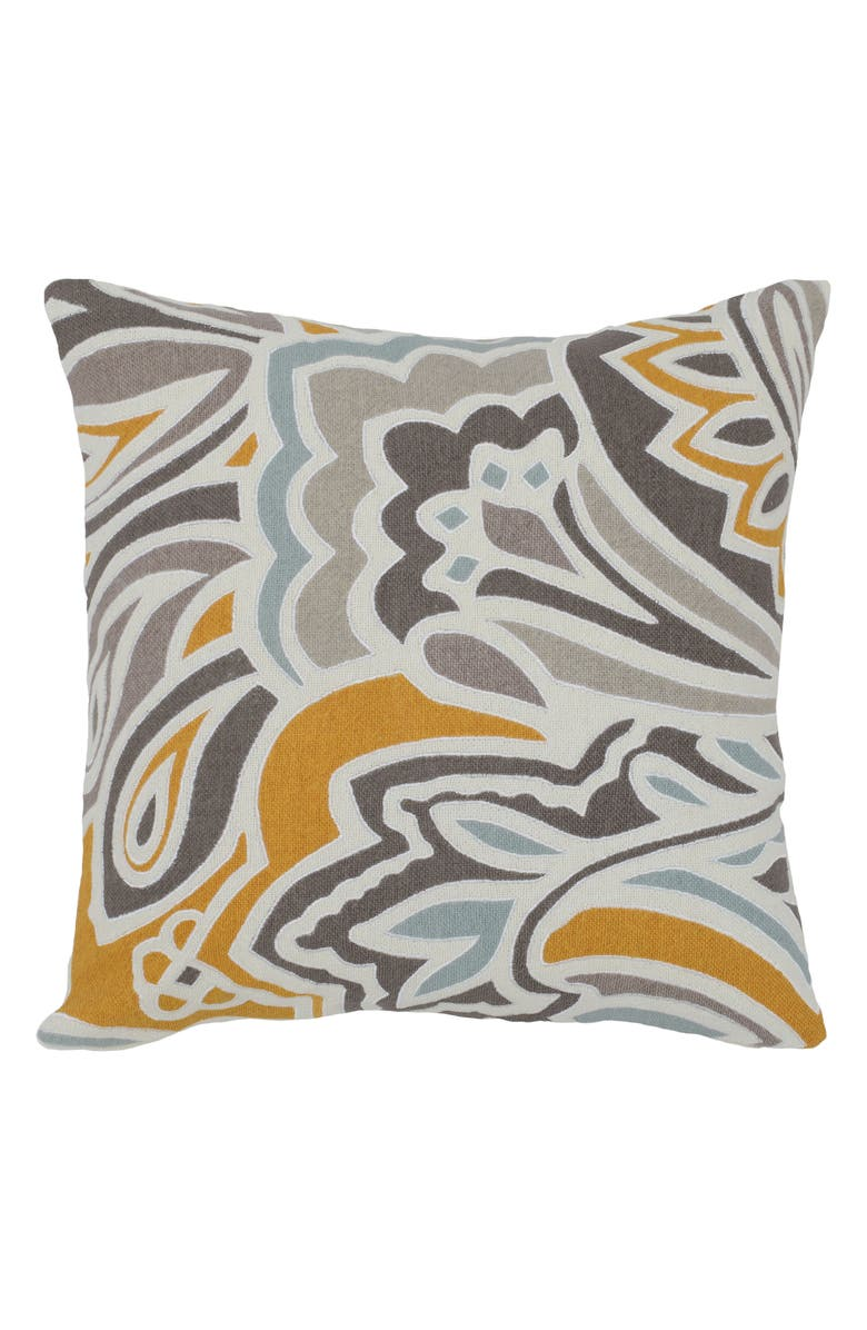 VILLA HOME COLLECTION Ve Mindo Pillow, Main, color, GREY/ YELLOW