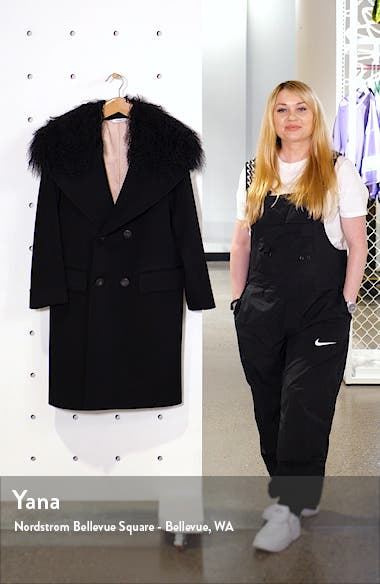 Double Breasted Wool Coat with Genuine Lamb Fur Trim, sales video thumbnail
