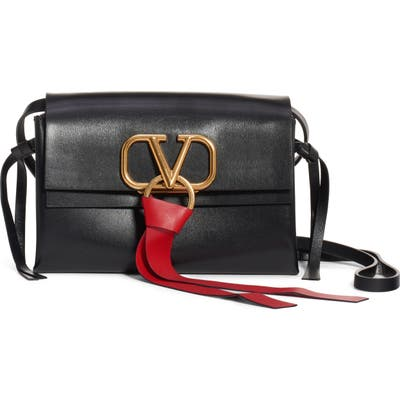 Valentino Garavani V-Ring Leather Crossbody Bag - Black