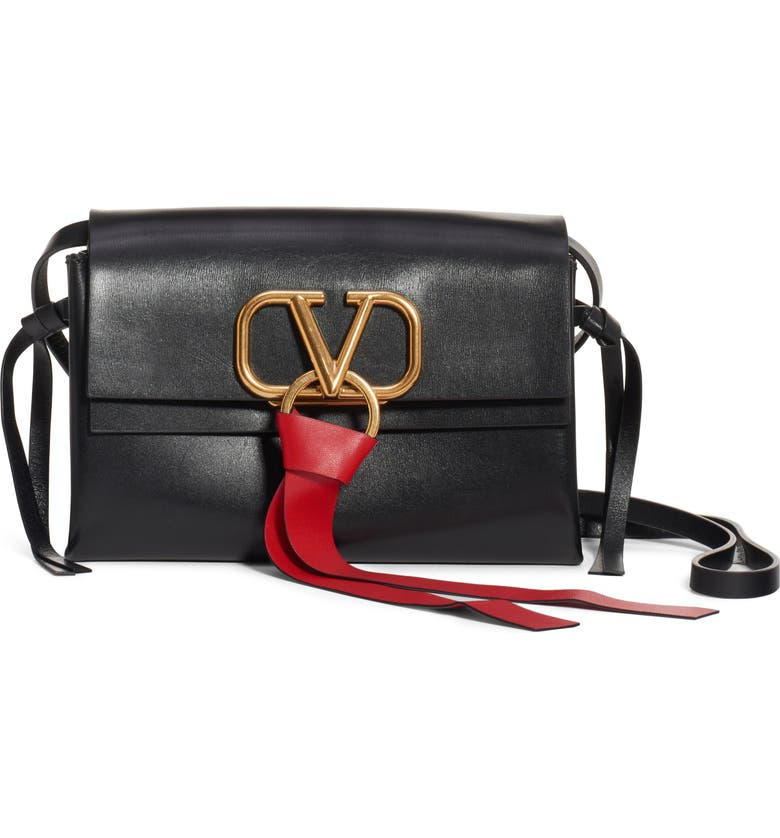 VALENTINO GARAVANI V-Ring Leather Crossbody Bag, Main, color, 001