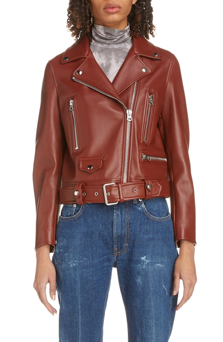 ACNE STUDIOS Mock Core Leather Moto Jacket, Main, color, RUSTY BROWN