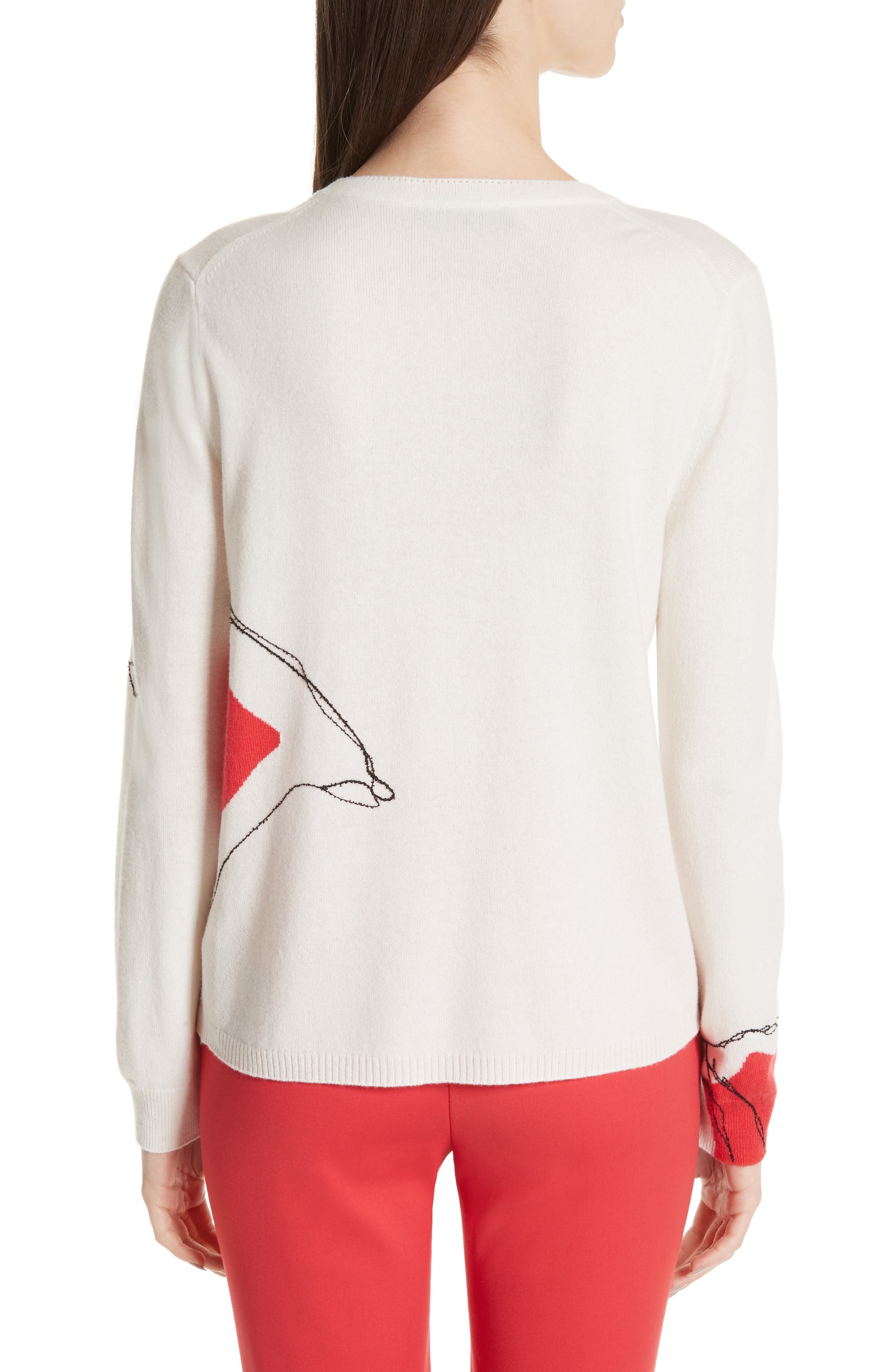 ,                             Intarsia Knit Cashmere Jersey Sweater,                             Alternate thumbnail 2, color,                             CREAM/ CRIMSON