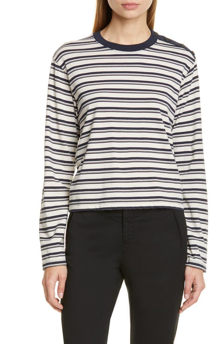 ATM ANTHONY THOMAS MELILLO Boy Stripe Pima Cotton Tee, Main, color, CREAM/ NAVY STRIPE