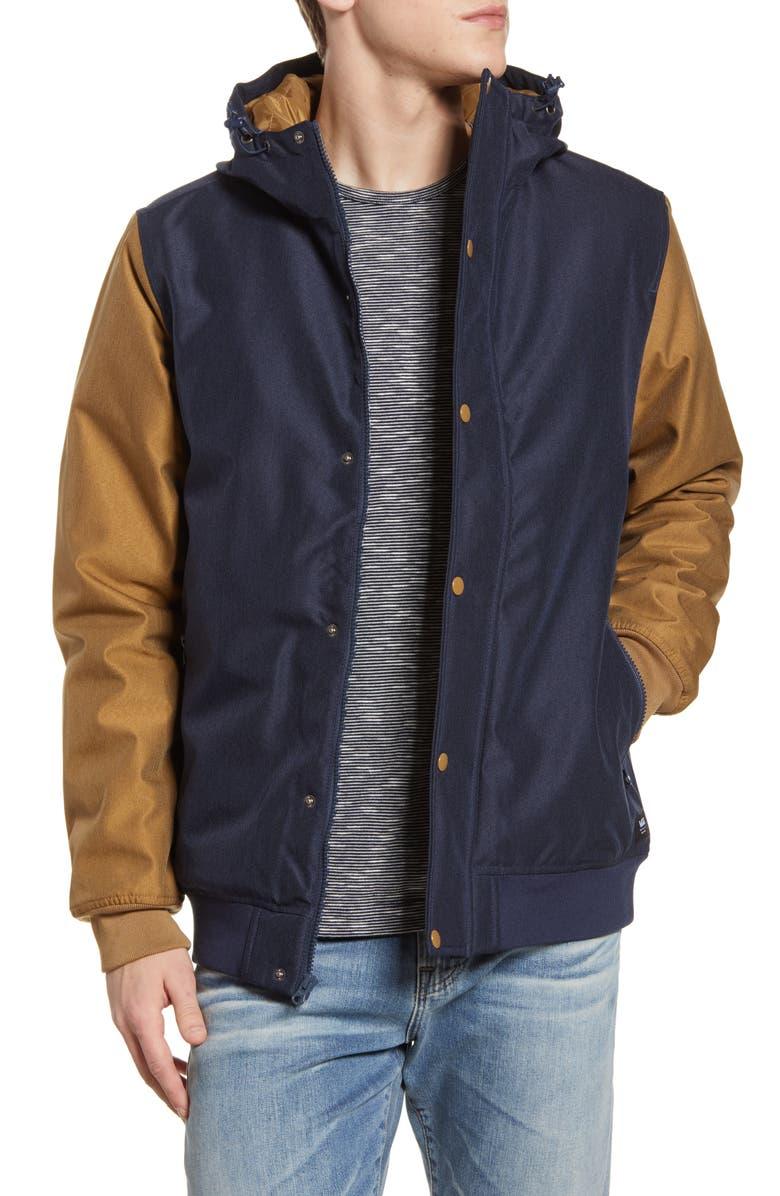 VANS Wells Water Repellent Varsity Jacket, Main, color, DRESS BLUES/DIRT
