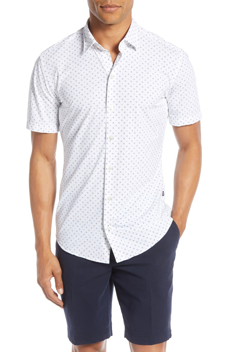 HUGO Paisley Slim Fit Stretch Short Sleeve Button-Up Shirt, Main, color, 481 WHITE W NAVY PAISLEY