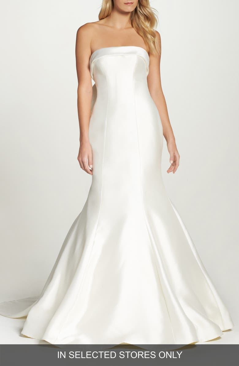 SAREH NOURI Peony Strapless Mikado Trumpet Gown with Bow Train, Main, color, IVORY