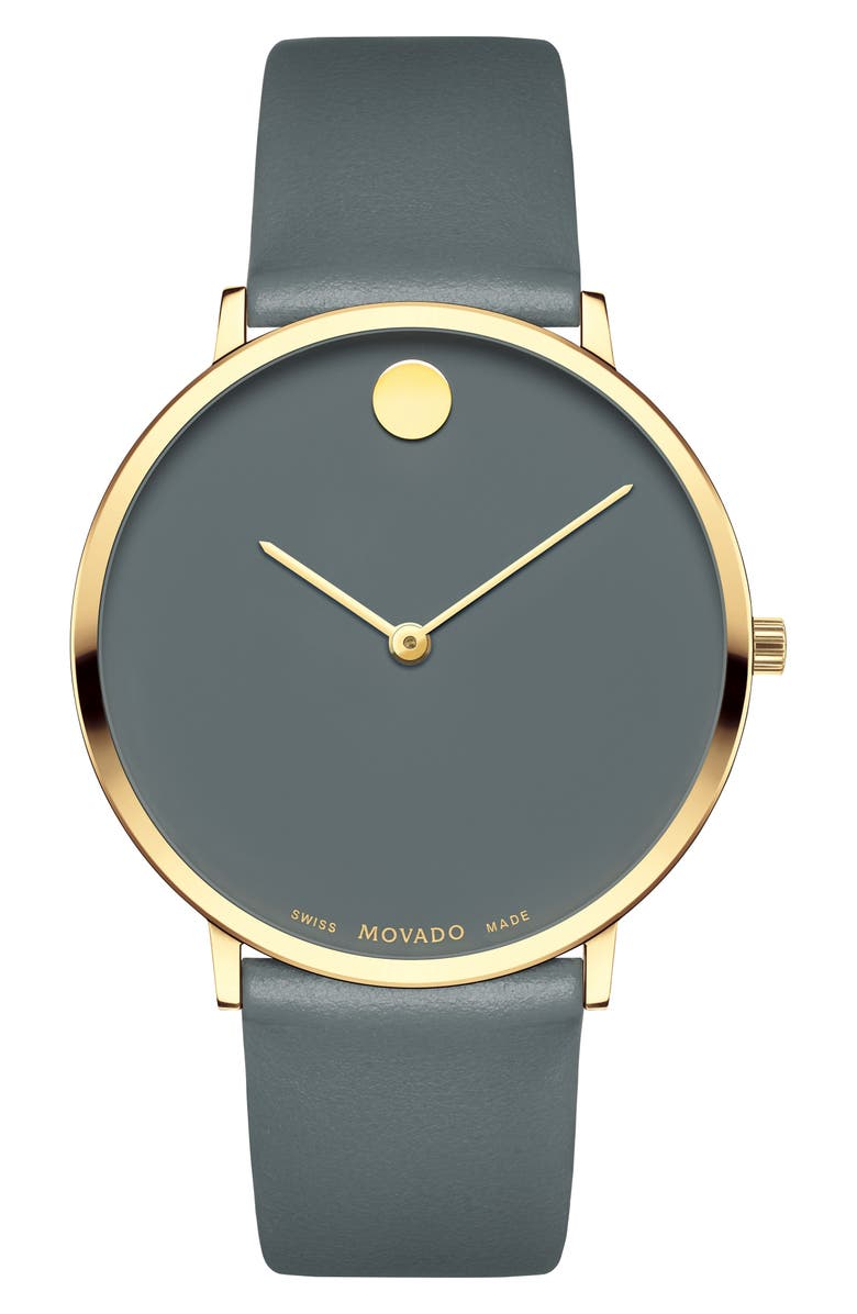 MOVADO Ultra Slim Museum Dial Leather Strap Watch, 40mm, Main, color, GREY/ GOLD