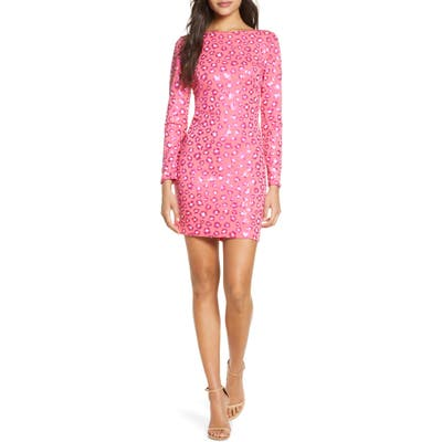 Tadashi Shoji Long Sleeve Sequin Cocktail Dress, Pink