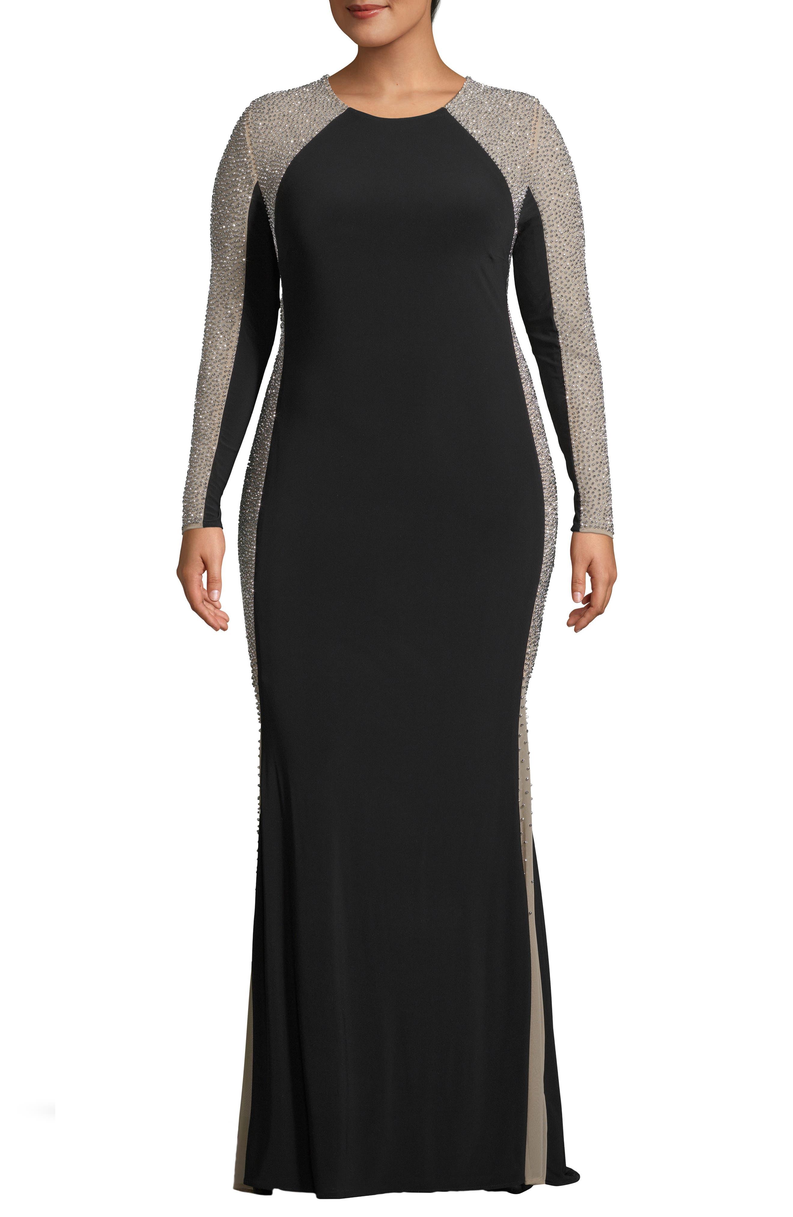 Plus Size Xscape Caviar Bead Dress, Black
