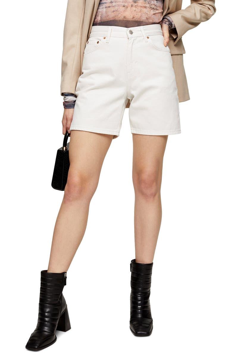 TOPSHOP Straight Leg Denim Shorts, Main, color, WHITE