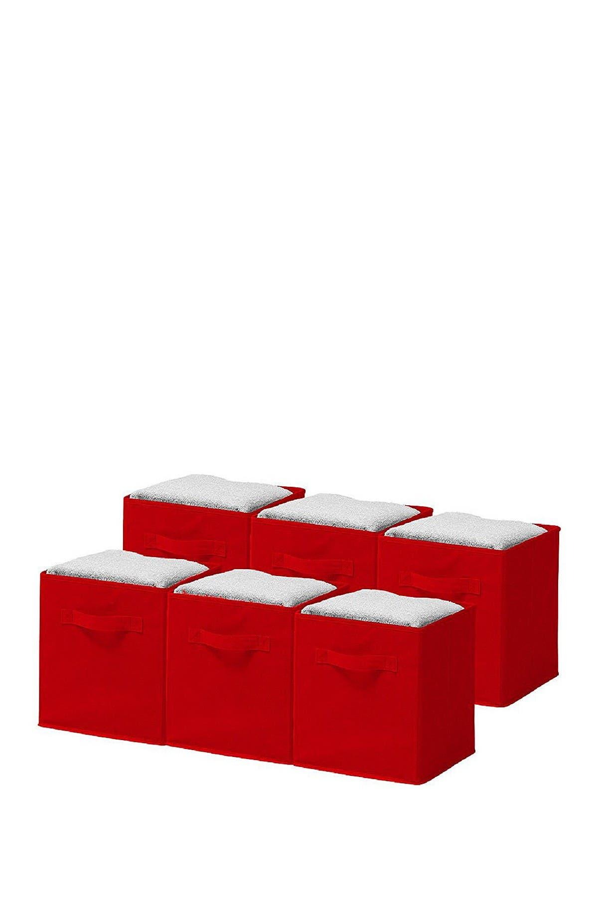 Image of Sorbus Red Foldable Storage Cube Basket Bin - Pack of 6