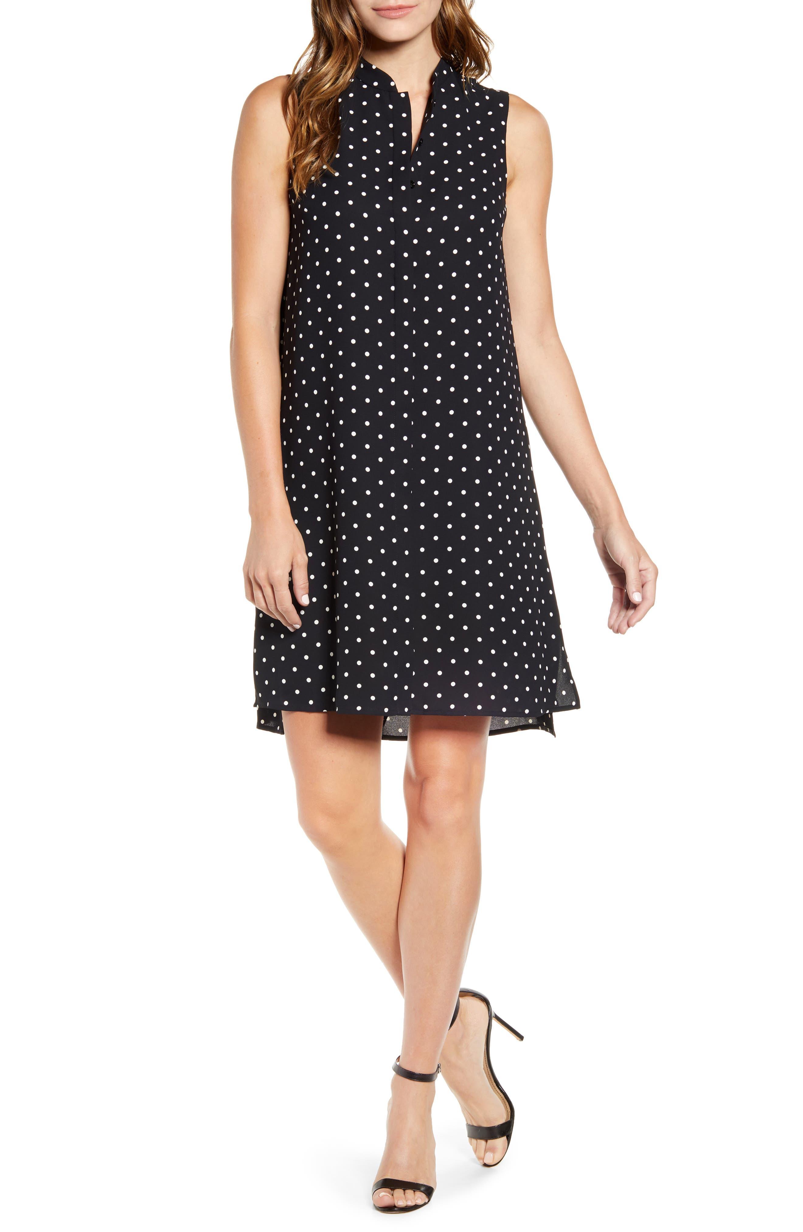 Dot Print Sleeveless Trapeze Dress