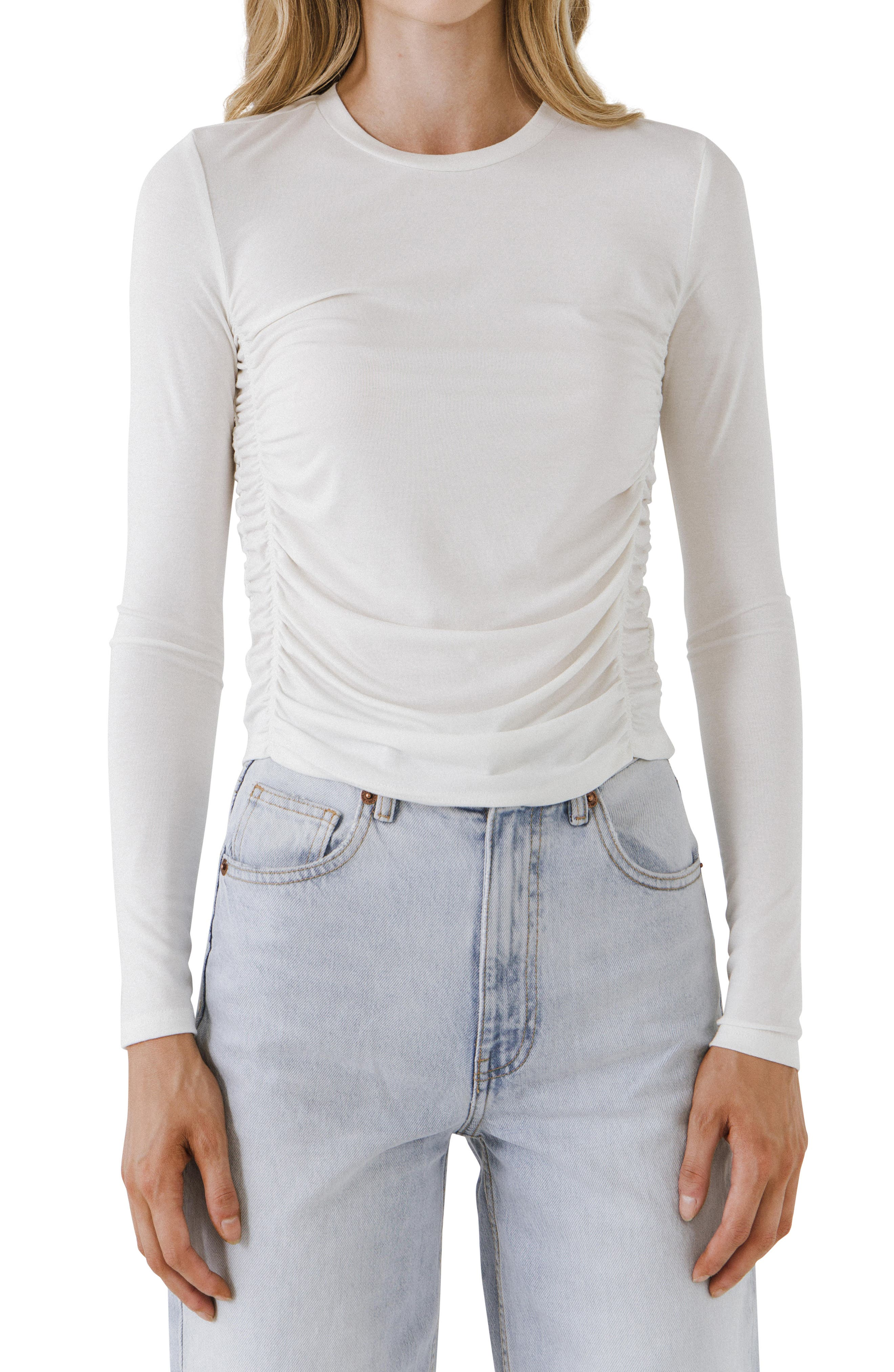 Ruched Long Sleeve T-Shirt