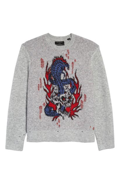 Allsaints Clothing VIPER SAINTS DISTRESSED INTARSIA SWEATER
